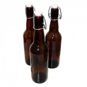 Бутылка с бугельной пробкой коричневое стекло, 1 л