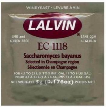 Винные дрожжи Lalvin EC-1118, пакет 5 грамм на 4,5-23 литра